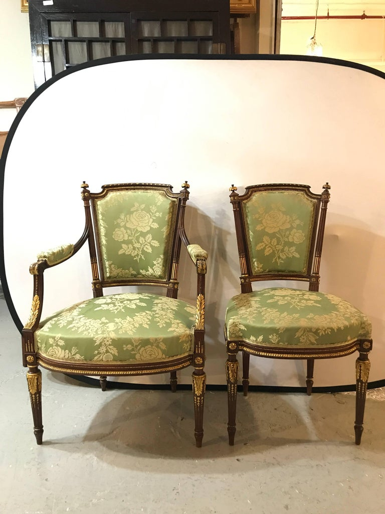 Louis XVI Style Six-Piece Parlor Suite Pair of Arm and Four Side Chairs In Good Condition For Sale In Stamford, CT