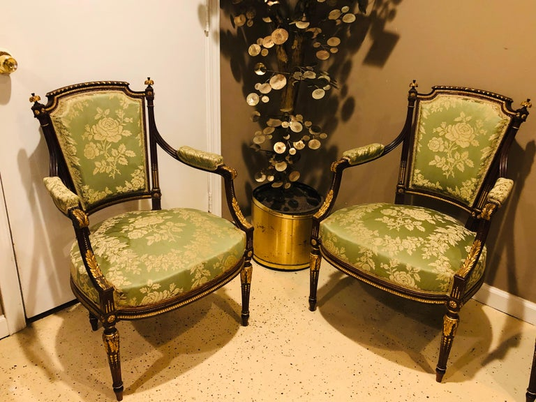 20th Century Louis XVI Style Six-Piece Parlor Suite Pair of Arm and Four Side Chairs For Sale