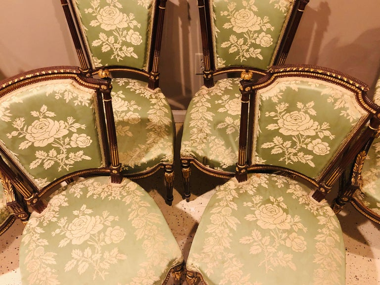 Mahogany Louis XVI Style Six-Piece Parlor Suite Pair of Arm and Four Side Chairs For Sale