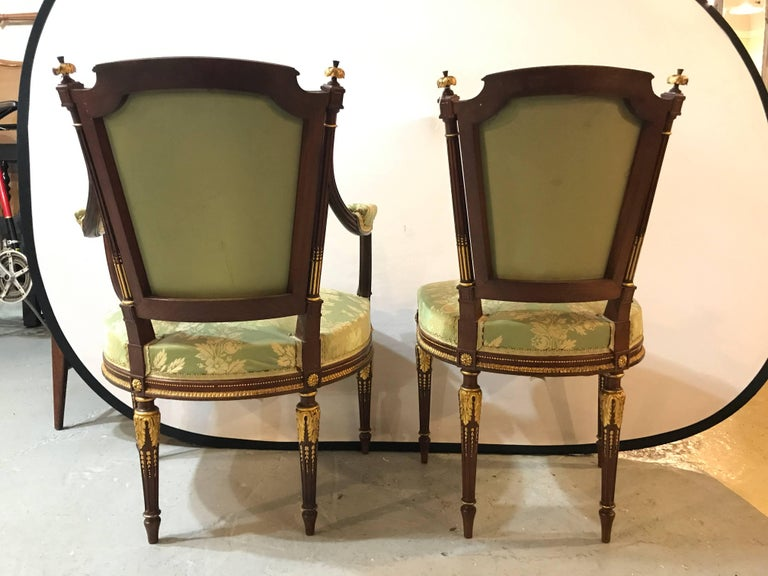 Louis XVI Style Six-Piece Parlor Suite Pair of Arm and Four Side Chairs For Sale 1