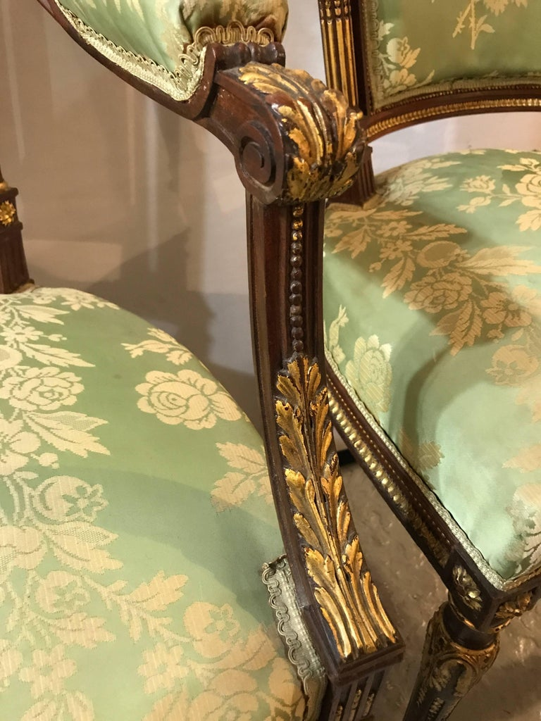 Louis XVI Style Six-Piece Parlor Suite Pair of Arm and Four Side Chairs For Sale 3