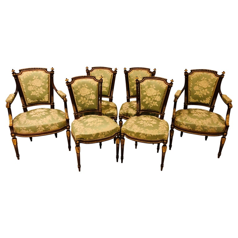 Louis XVI Style Six-Piece Parlor Suite Pair of Arm and Four Side Chairs For Sale