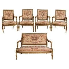 Louis XVI Style Sofa and Four Chair Salon Suite, Aubusson Tapestry Upholstery