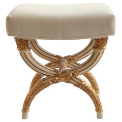 Louis XVI Style Stool in X-Shaped, Painted in Warm Grey with Gold Highlights