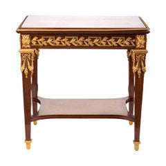 Louis XVI Style Table in Solid Amaranth with Gilt Bronze Mounts