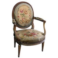 Louis XVI Style Tapestry Fauteuil Open Arm Parlor Chair