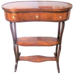 Louis Xvi Style Tulipwood Three-Tiered Desk or Dressing Table with Sunburst Top