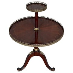Louis XVI Style Two-Tier Mahogany Bouillotte Round Table in Style of Jansen