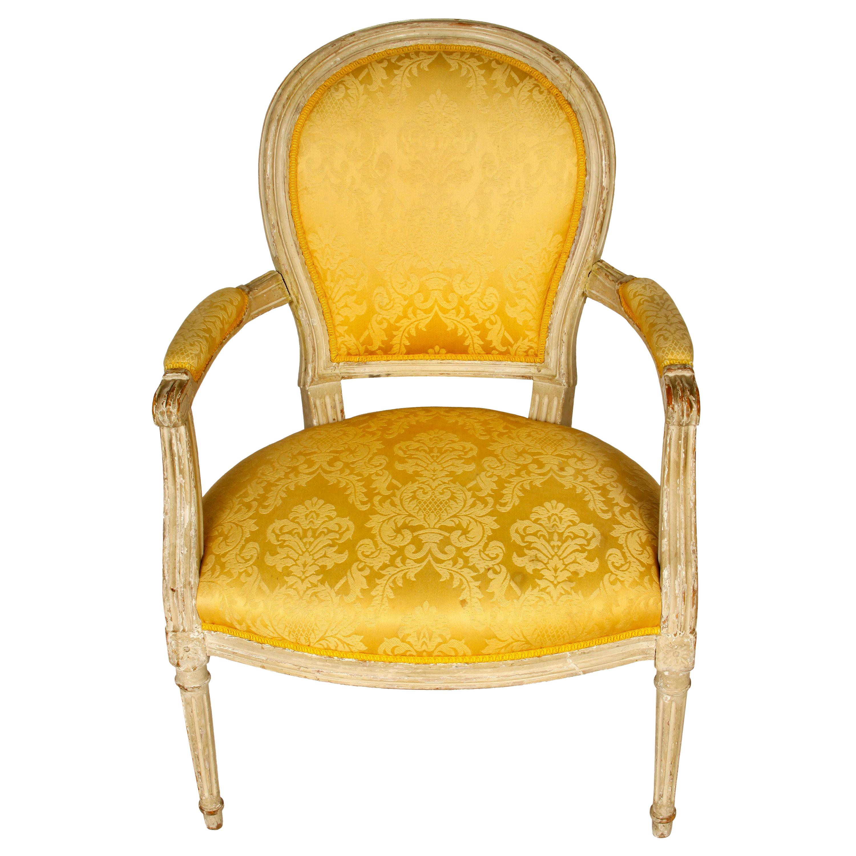 Louis XVI Style Upholstered Armchair in Yellow Damask