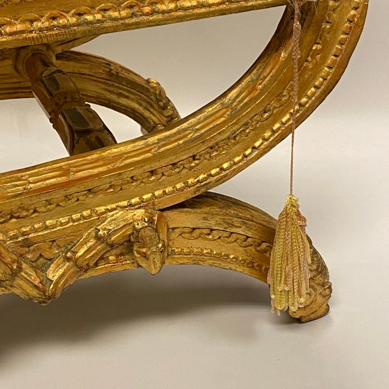 Louis XVI Style Upholstered Giltwood Bench 7