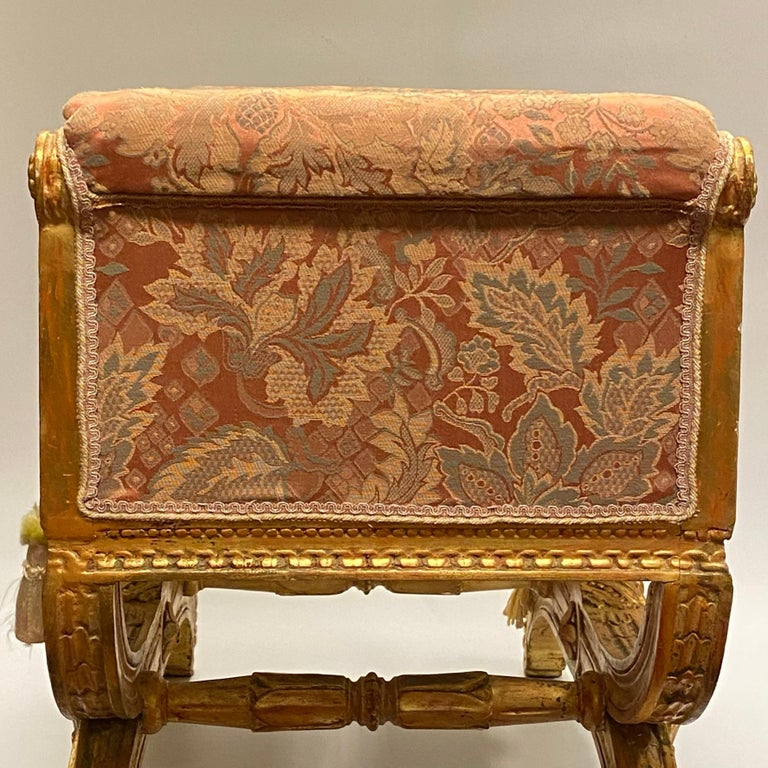 Louis XVI Style Upholstered Giltwood Bench 9