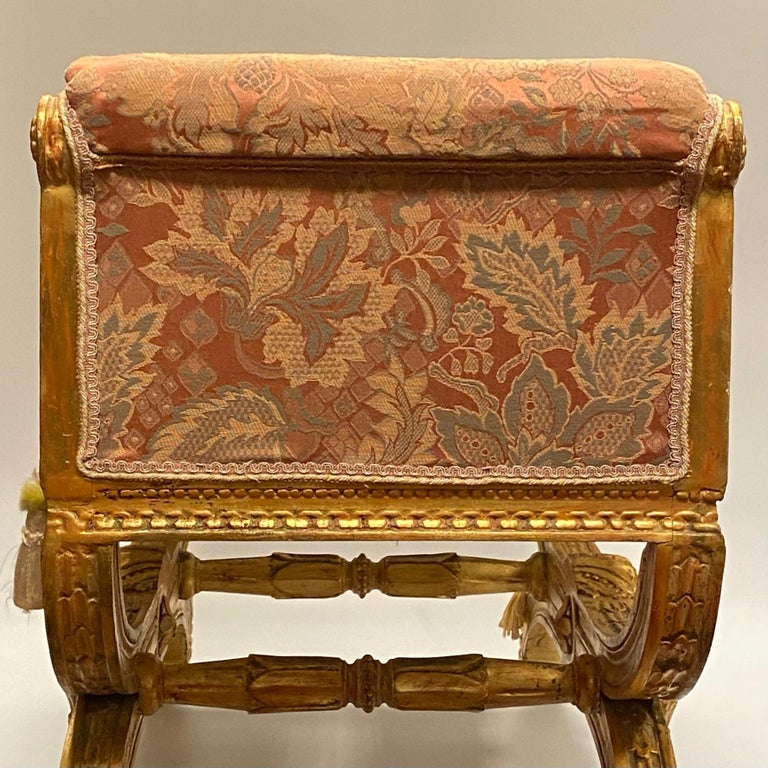 Louis XVI Style Upholstered Giltwood Bench 10