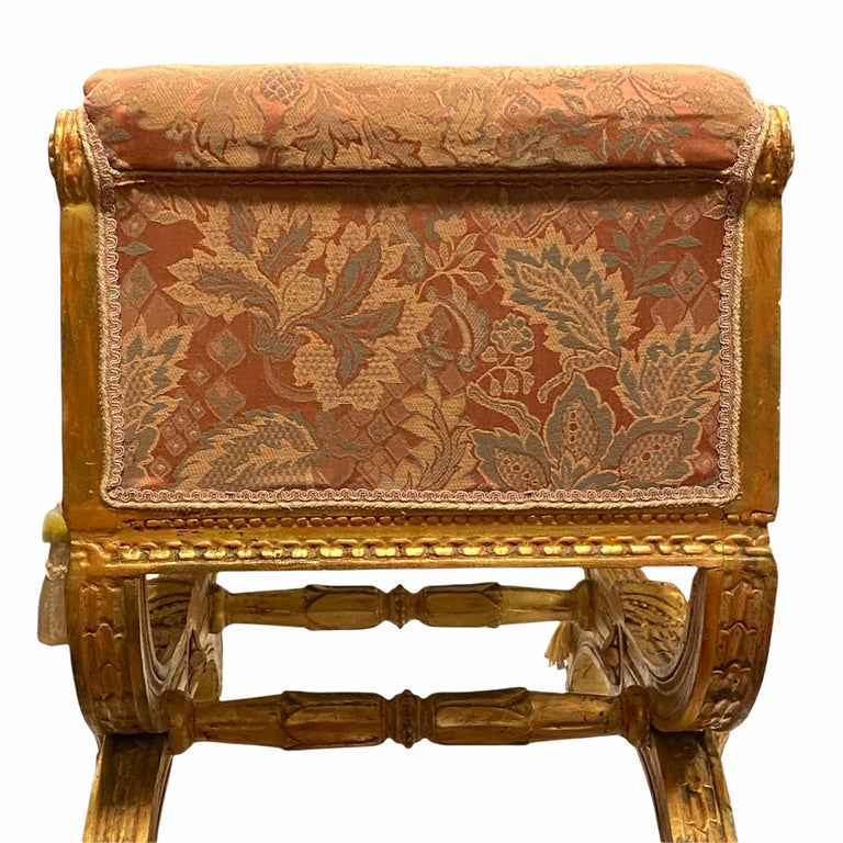 Louis XVI Style Upholstered Giltwood Bench In Good Condition In New York, NY