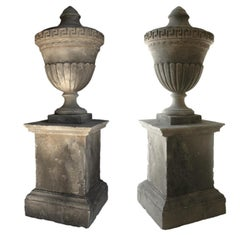 Louis XVI Style Urns 'Pair with Pedestals' Handcrafted Pure Limestone, France