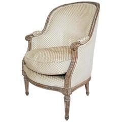 Louis XVI Style Velvet Barrel Back Chair