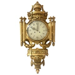 Louis XVI Style Wall Clock Gold-Plate Enamel and Brass France Early 20th Century