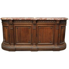 Louis XVI Style Walnut and Marble Side Board Cabinet with Curved Doors