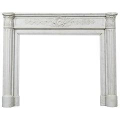 Louis XVI Style White Carrara Marble Mantel