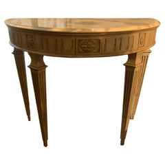 Louis XVI Style White Demi Lune Shaped Console with White Marble Top