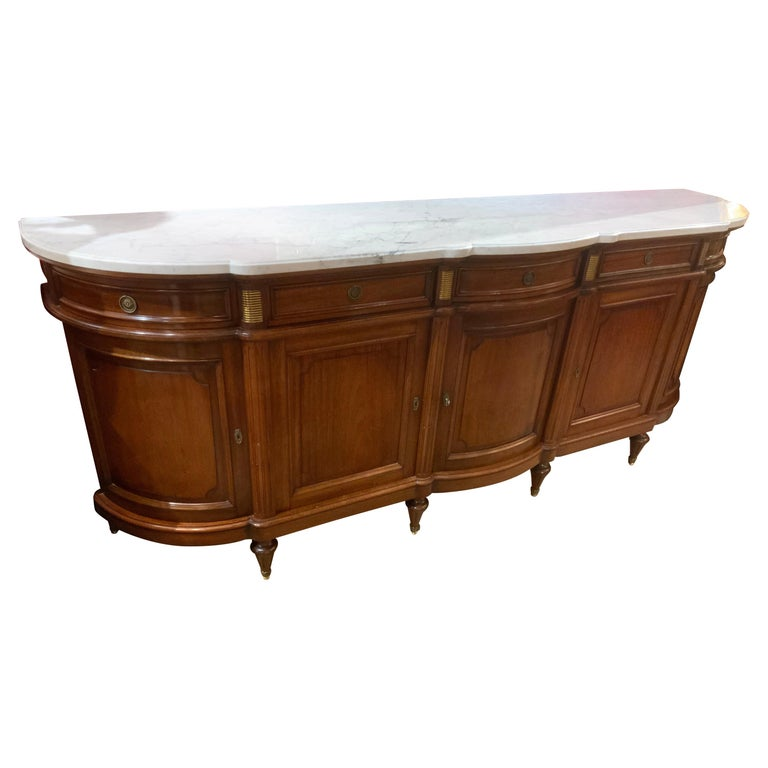 Louis XVI Style White Marble Top Mahogany Sideboard with Curved Sides For Sale