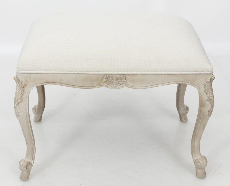 Louis XVI Style White Painted Upholstered Bench, circa 1950 For Sale 5