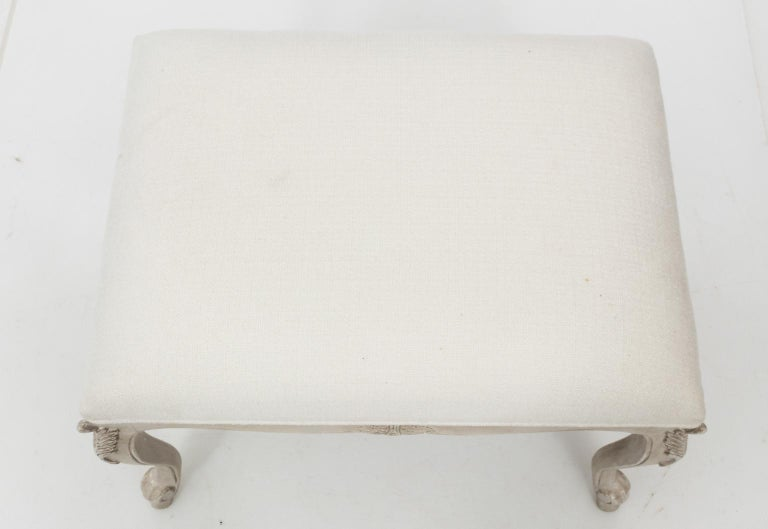 Upholstery Louis XVI Style White Painted Upholstered Bench, circa 1950 For Sale