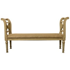Louis XVI Style Window Seat Bench Paint Decorated Green with Burlap Upholstery