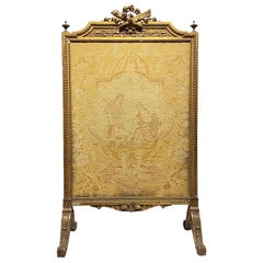 Louis XVI Style Wood and Petitpoint Fire Screen