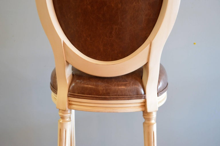 Louis Xvi Style Wooden Painted Bar Stool With Oval Back