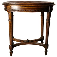 "Louis XVI Style Wooden Stool with ""Vienna Straw"" Seat"