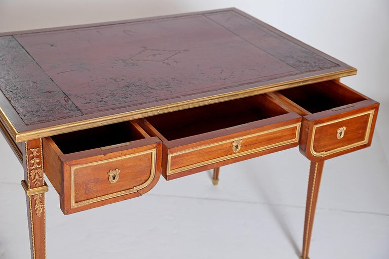 Louis XVI Style Writing Table with Red Leather Writing Surface For Sale 3