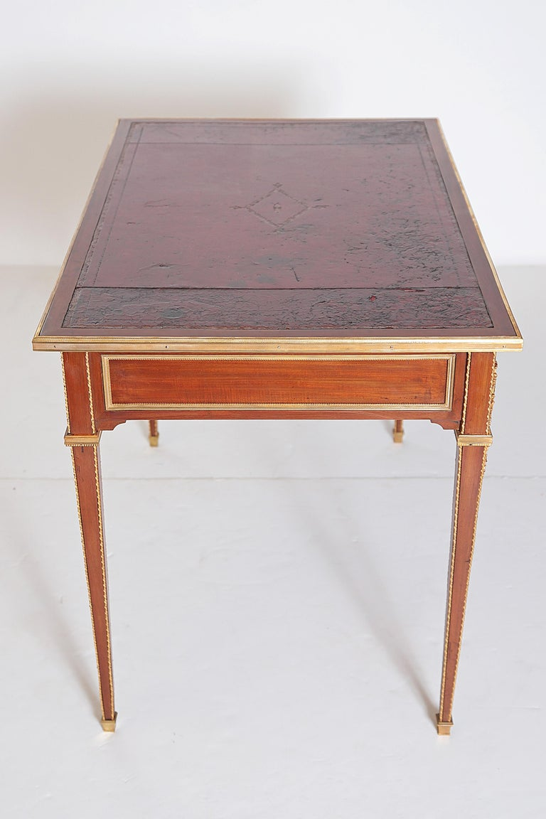Louis XVI Style Writing Table with Red Leather Writing Surface For Sale 4