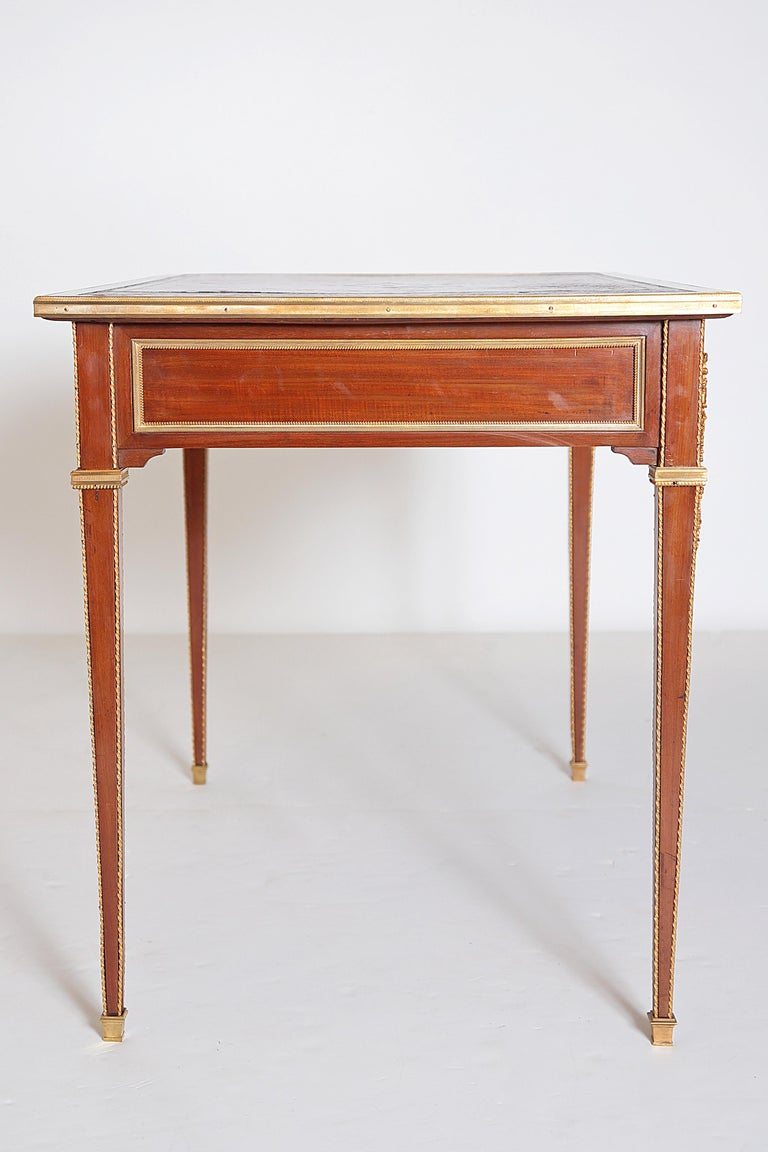 Louis XVI Style Writing Table with Red Leather Writing Surface For Sale 5