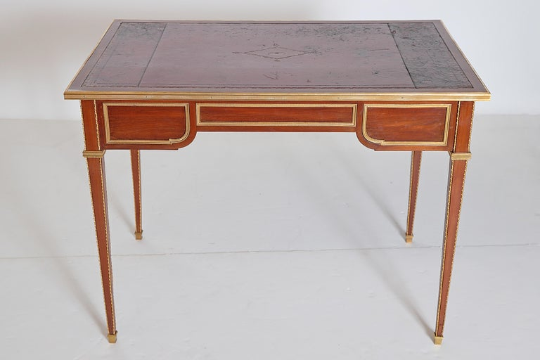 Louis XVI Style Writing Table with Red Leather Writing Surface For Sale 7