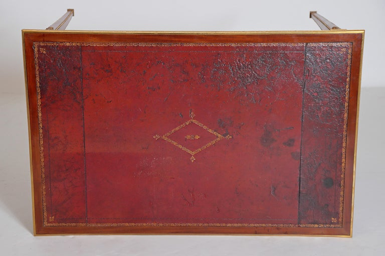 Louis XVI Style Writing Table with Red Leather Writing Surface For Sale 8