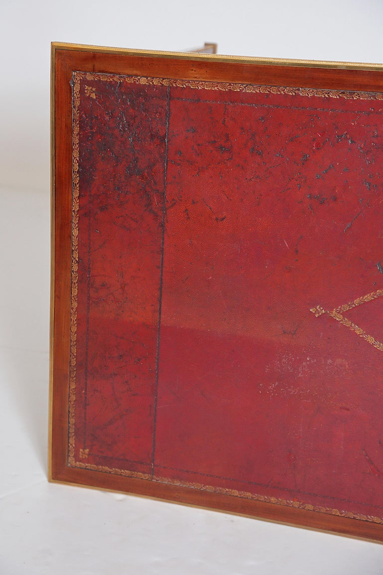 Louis XVI Style Writing Table with Red Leather Writing Surface For Sale 9