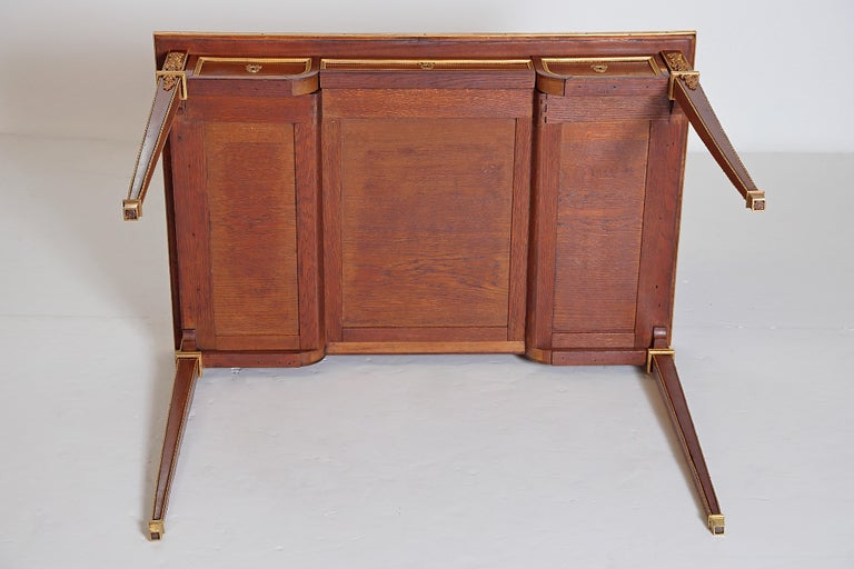 Louis XVI Style Writing Table with Red Leather Writing Surface For Sale 10