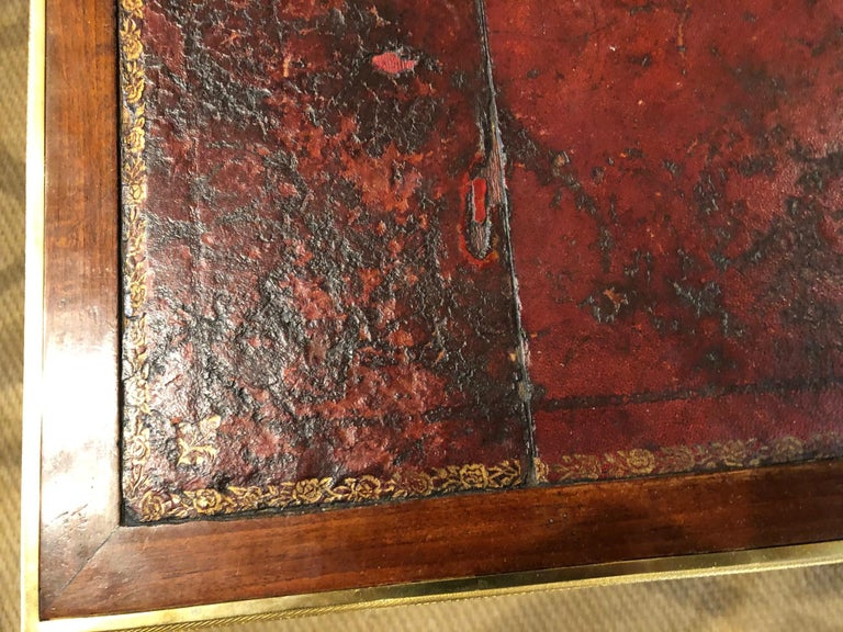 Louis XVI Style Writing Table with Red Leather Writing Surface For Sale 12
