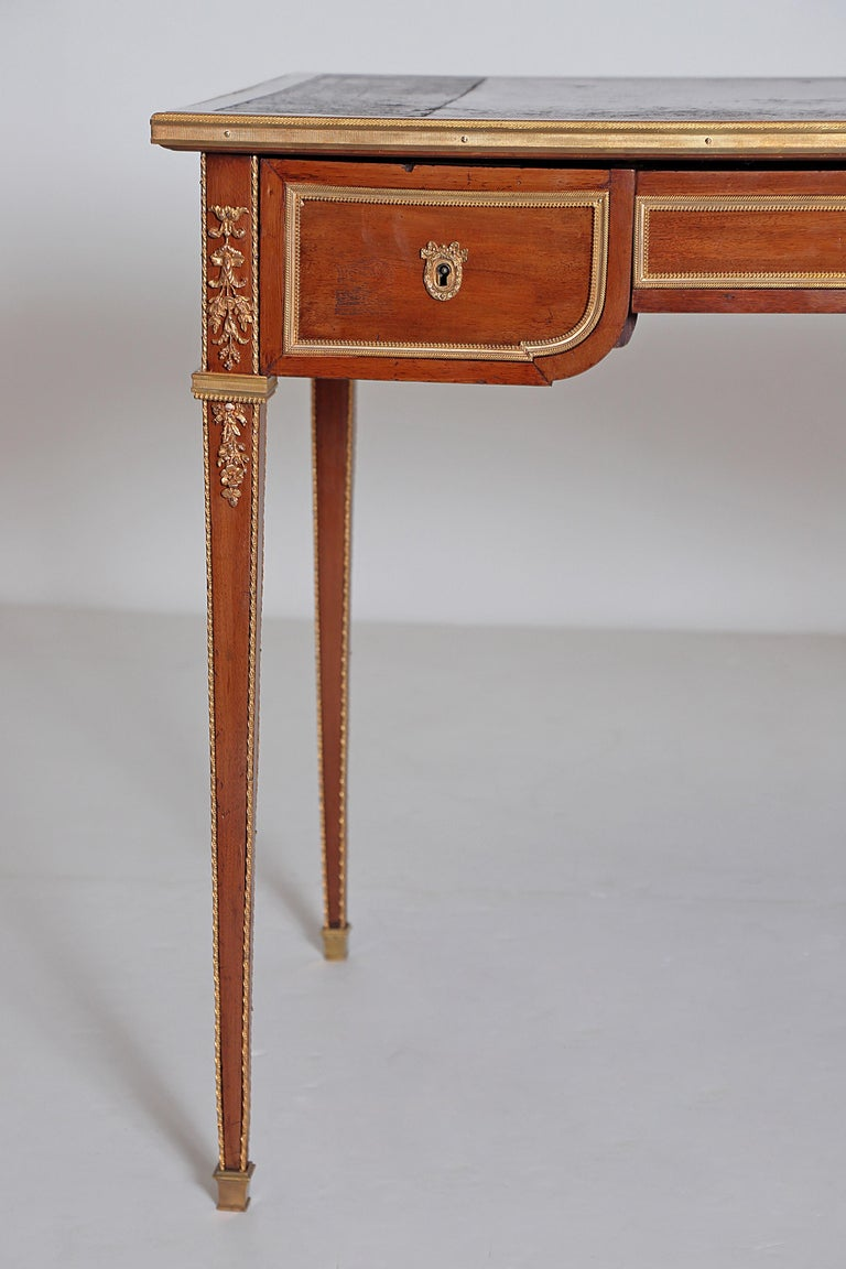 French Louis XVI Style Writing Table with Red Leather Writing Surface For Sale