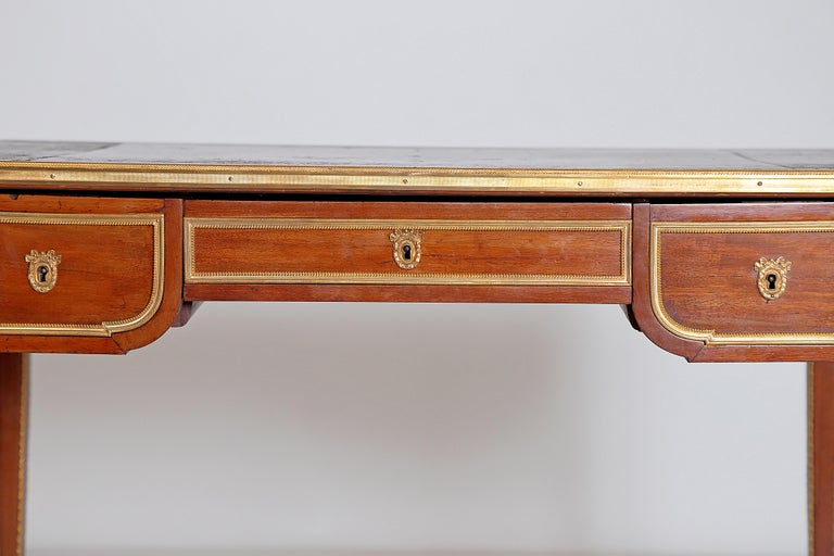 Cast Louis XVI Style Writing Table with Red Leather Writing Surface For Sale