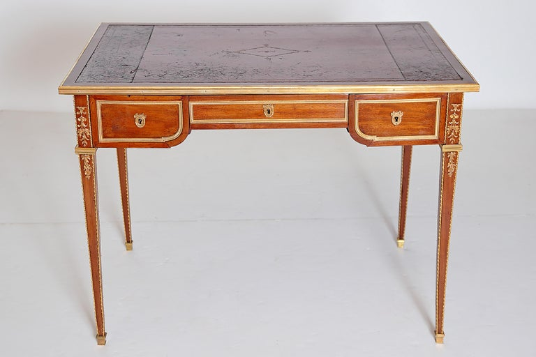 Late 19th Century Louis XVI Style Writing Table with Red Leather Writing Surface For Sale