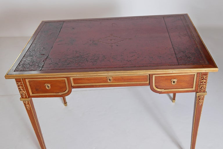 Ormolu Louis XVI Style Writing Table with Red Leather Writing Surface For Sale
