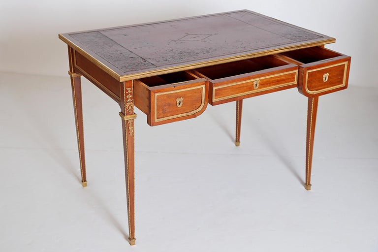 Louis XVI Style Writing Table with Red Leather Writing Surface For Sale 2