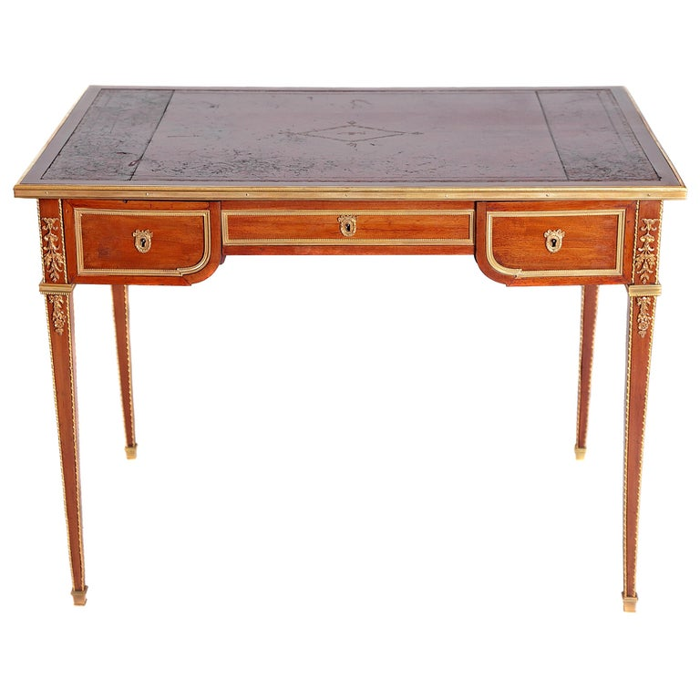 Louis XVI Style Writing Table with Red Leather Writing Surface For Sale