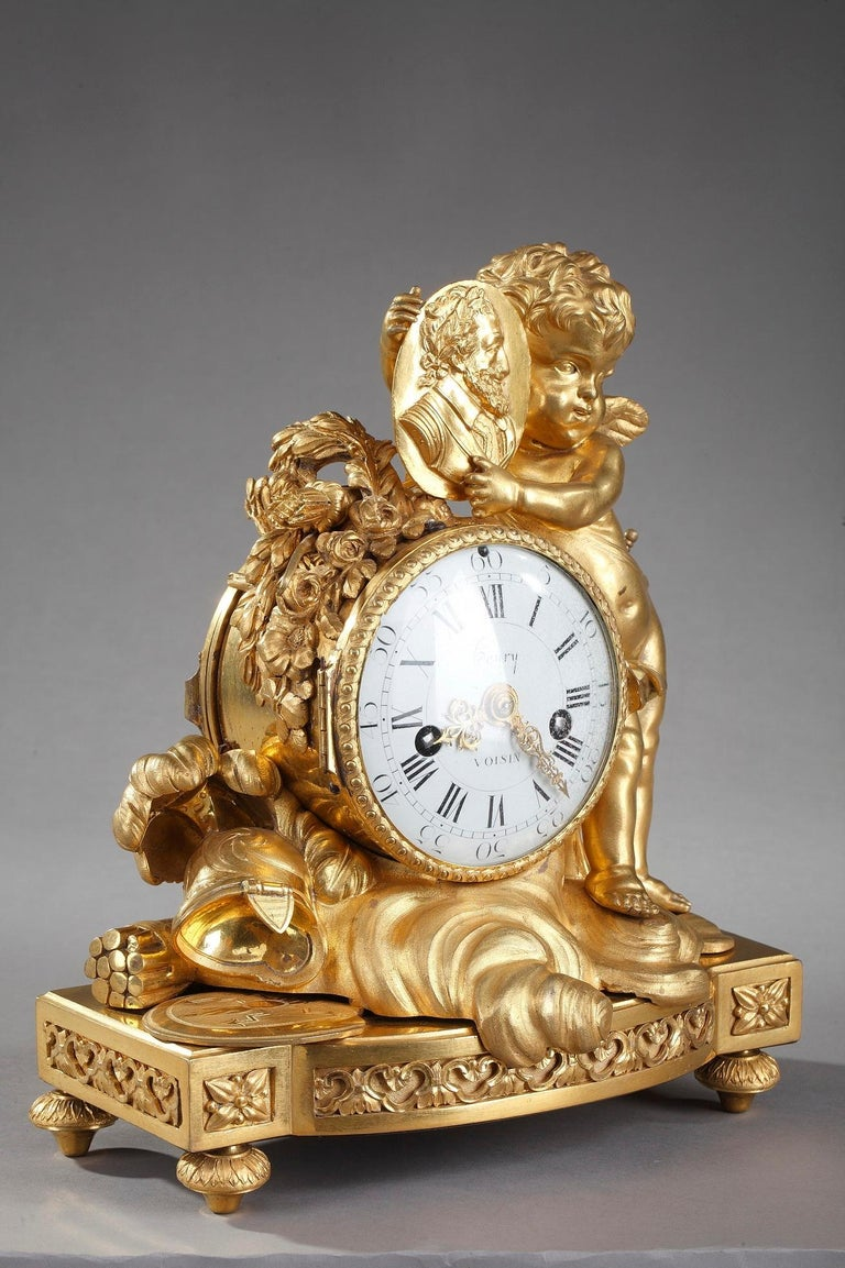 Gilt Louis XVI Table Clock Honoring Henri IV by Henri Voisin For Sale