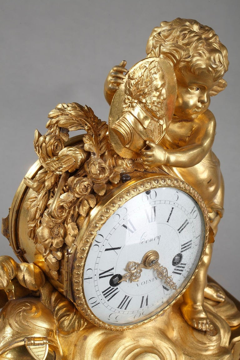 Louis XVI Table Clock Honoring Henri IV by Henri Voisin In Good Condition For Sale In Paris, FR