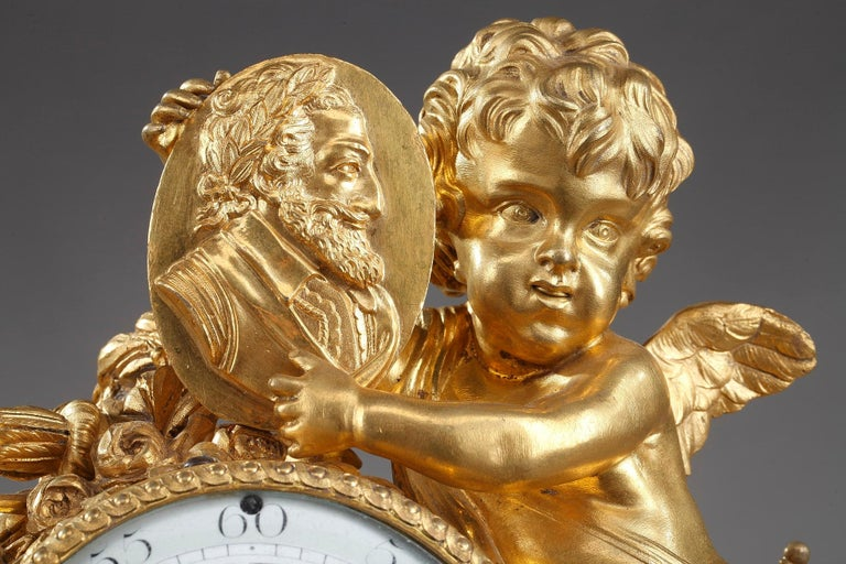 18th Century Louis XVI Table Clock Honoring Henri IV by Henri Voisin For Sale