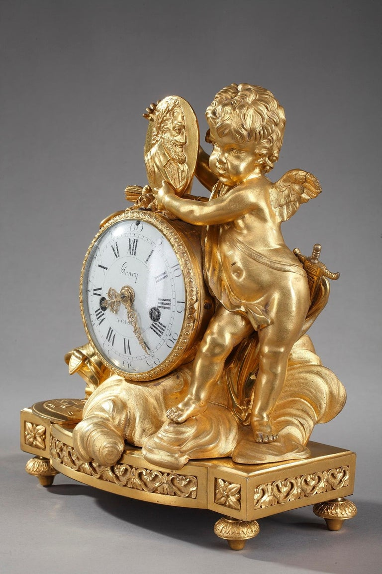Louis XVI Table Clock Honoring Henri IV by Henri Voisin For Sale 2