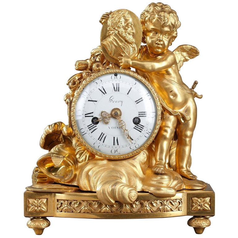 Louis XVI Table Clock Honoring Henri IV by Henri Voisin For Sale