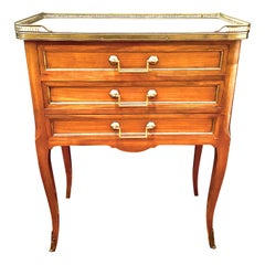 Louis XVI Transition Style Cabinet or Nightstand with Marble Top, Table De Salon